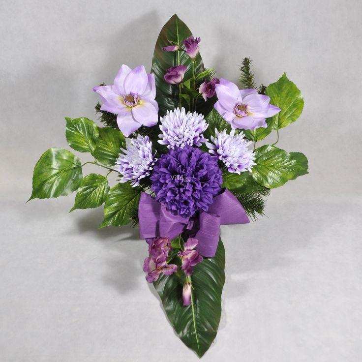 Stroik na grób w donicy, wiązanka ze sztucznych kwiatów Wszystkich Świętych