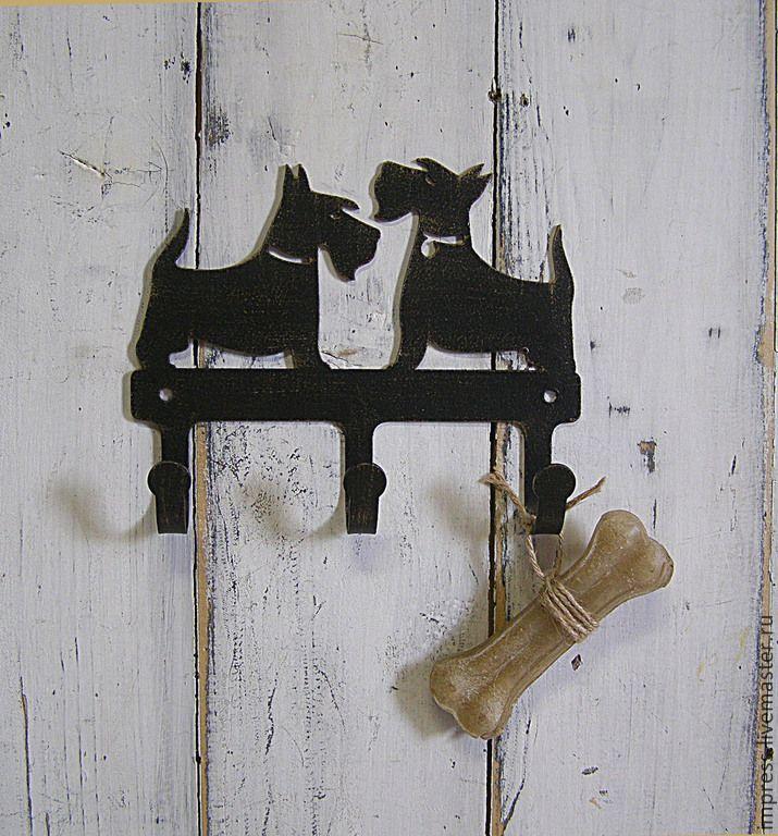 Купить крючки металлические Скотч-терьеры - чёрный, крючки, вешалка, скотч-терьер, собака