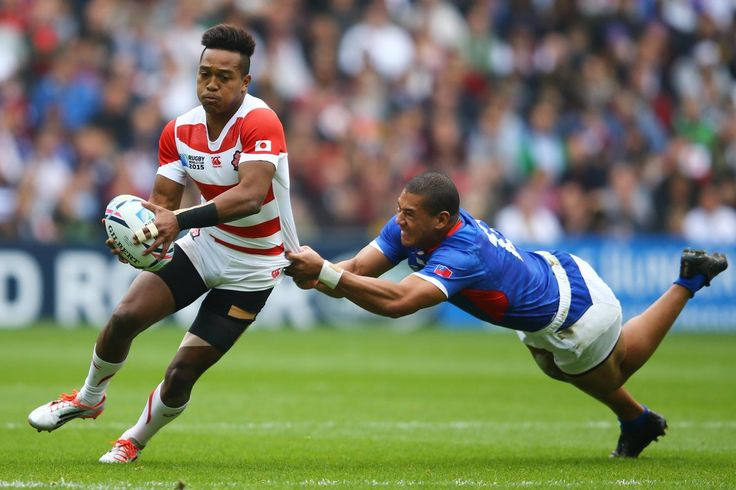 Rugby World Cup 2015 - Match Centre - Match 24 - Oct.3 2015 - Samoa 5 - Japan 26 -  GROUP B: RUGBY WORLD CUP 2015 KOT YOU: Japan wing Kotaro Matsushima's hopes of a breakaway end as Paul Perez dives to bring him down