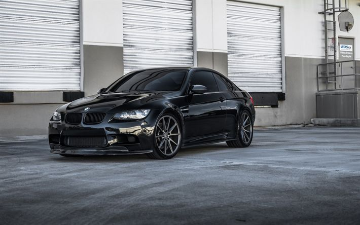 Download wallpapers BMW 3, E92, black sports coupe, gray wheels, tuning, black m3, BMW