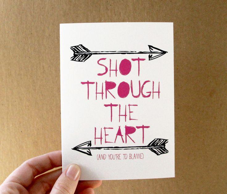 valentine card love card shot through the heart bon jovi quote card pink typography black arrows letterhappy etsy. $3.00, via Etsy.