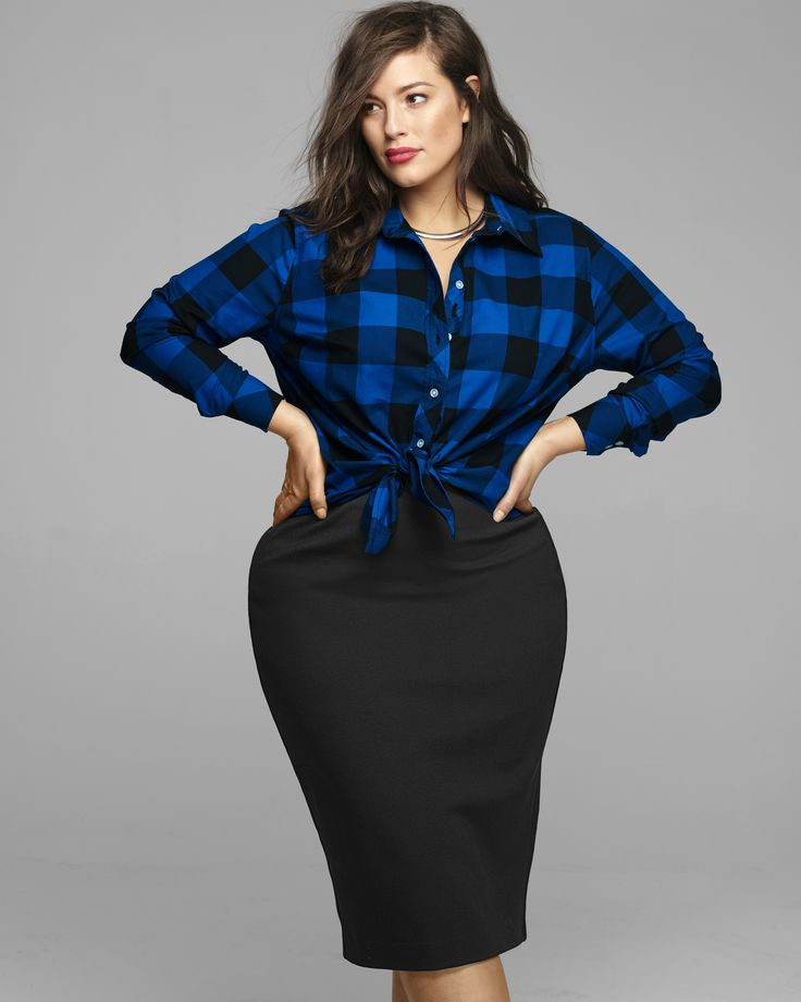Try this: pencil skirt + plaid shirt, tied at the waist.