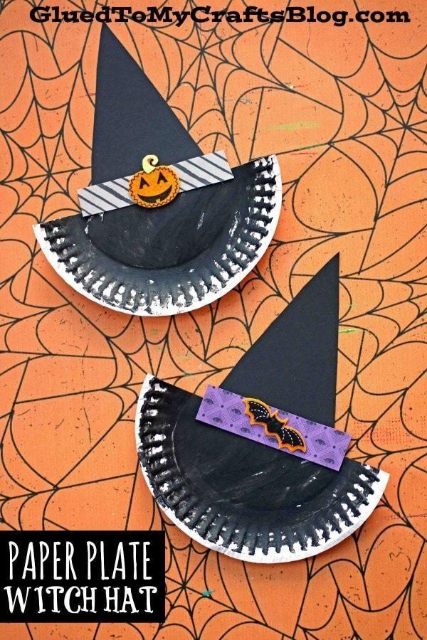 Pappteller Hexenhut – Kid Craft   – Fall & Halloween Crafts For Kids