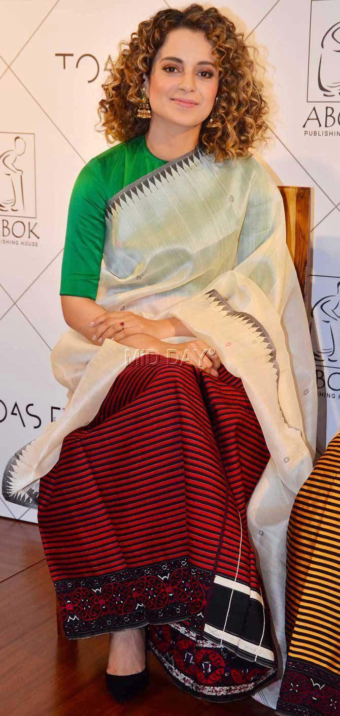 Kangana Ranaut at her friend Bondina's book launch in Bandra. #Bollywood #Fashion #Style #Beauty #Hot #Sexy #Saree