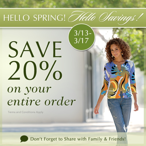 Hello Spring! Hello Savings! Sale from Monroe and Main! Expires 3/17. Save on dresses, tops, shoes, accessories, jewelry & MORE!  www.facebook.com/monroeandmain  Monroe and Main is  with us for the Spring Fashioista Event. Don't miss out on this chance to save 20% on your order through Friday, March 15! Tonight is the LAST night for the Spring Fashionista Event.  Hurry over here and enter: http://stillblondeafteralltheseyears.com/2013/03/main-event/   26,000 dollars in ALL FASHION GIveaways!
