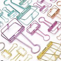Novedad Señala Carta Color Sólido Ahueca Hacia Fuera el Metal Clips de la Carpeta Clip de Papel Suministros de Oficina FOD