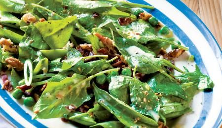 Spinach is a great source of vitamin A. To ensure this recipe is low in fat, use back bacon and remove all visible fat. This recipe is even better the next day.