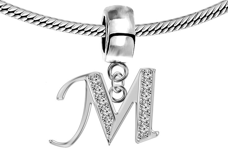 Silver Pandora Inspired Charm Initials with CZ Crystals -European Charms, beads - Fits all Pandora, Chamilia Charm Bracelets -- Learn more by visiting the image link. #Bracelets