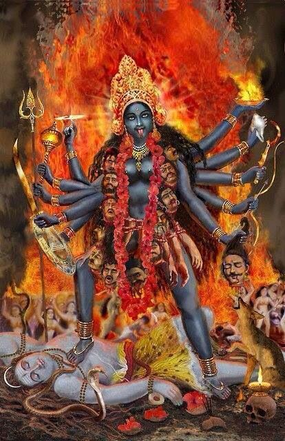 Goddess Kali and her husband Lord Shiva under her feet.: