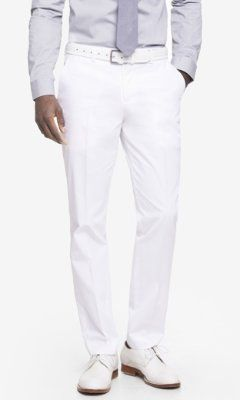 WHITE COTTON SATEEN PHOTOGRAPHER SUIT PANT from EXPRESS