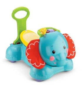 """Fisher-Price 3-in-1 Bounce, Stride and Ride Elephant This cute toy will engage the baby no matter his/her play ability. It is  easy to assemble.  It talks in a child-friendly voice """"I am an elephant!"""" """"I like to stomp my feet."""" It plays familiar children songs. http://bit.ly/13qBfm6"""