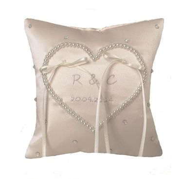 Ivory Pearl Heart Ring Cushion