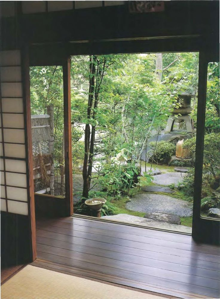 Engawa corridor separating interior from gardens