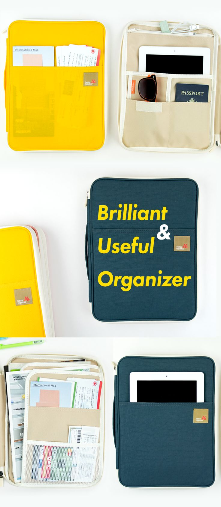 """Everyone needs a brilliant & useful organizer. Like the Better Together Note Pouch v5 with the perfect size, design, and compartments! This genius pouch has mesh, open, zippered, velcro, and padded pockets to hold everything you need. Carry your notebooks, documents, and planner supplies to work or school. Or use it to hold your passports and boarding passes during your fun travels! This pouch can even hold a 13"""" Macbook Pro! So, check it out, pick one up, and never organize the same way…"""