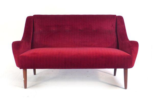 Danish Sofa Red Velour Teak Mid Century Two Seater Vintage Circa 1950s | vinterior.co