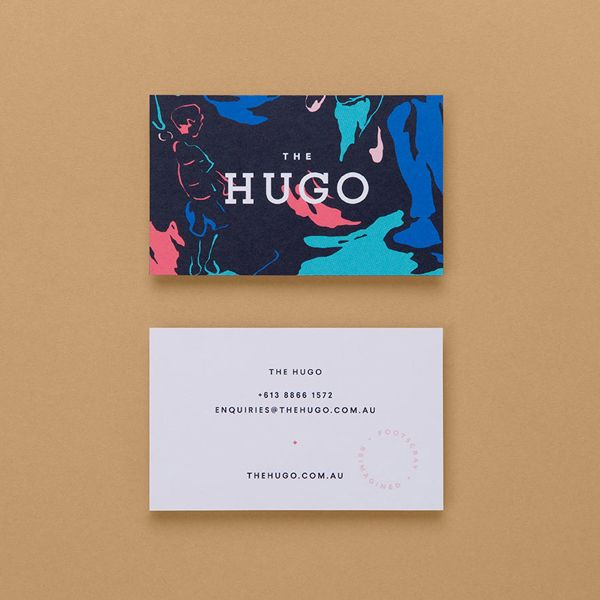 Business cards for Footscray property development The Hugo designed by Studio Brave featuring illustration by Andy Murray