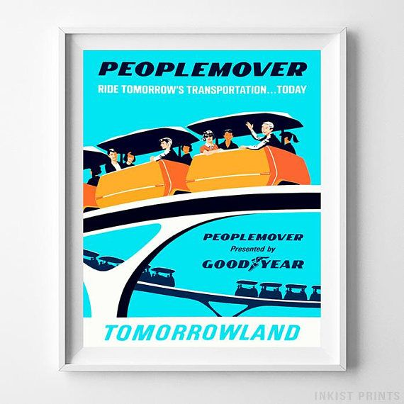 Disneyland Peoplemover Tomorrowland Home Decor Poster - Prices from $9.95 - Click Photo for Details - #disneyland#disneyfan#disneyattractions#babyroomdecor#vintage#Peoplemover #Tomorrowland