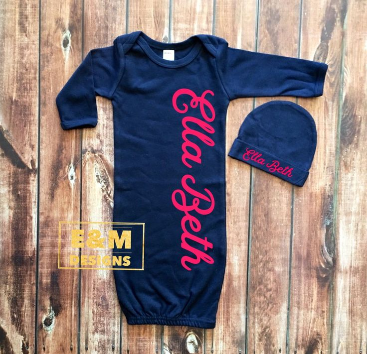 Baby Girls Coming Home Outfit, Newborn Girls Gown and Hat Set, Hot Pink and Navy Vinyl Gown Set, Monogrammed Baby Girl Set, Girls Take Home by ShopEMDesigns on Etsy