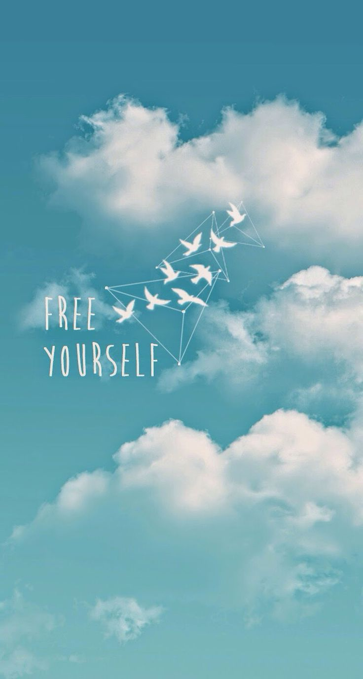 Aqua Blue white clouds sky birds Free yourself iphone background wallpaper phone lock screen