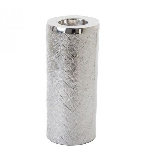 ALUMINIUM CANDLE HOLDER IN SILVER COLOR 12X12X30