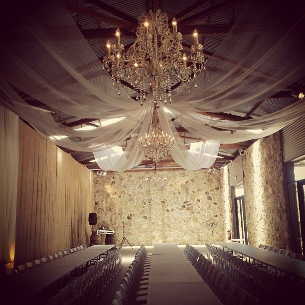 Goldings Winery Weddings Adelaide. Drapes and Chandeliers. Lush Lighting