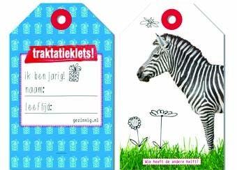 beestige set van 36 traktatielabels (3-6j) Gezinnig | kinderen-shop Kleine Zebra