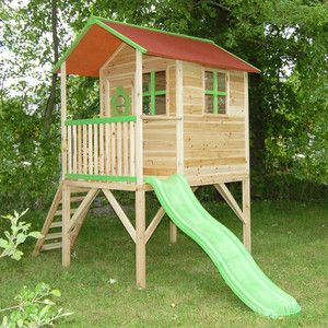 NEW PRE PAINTED TOWER PLAYHOUSE WOODEN WENDYHOUSE SLIDE GARDEN PLAY HOUSE PT   eBay