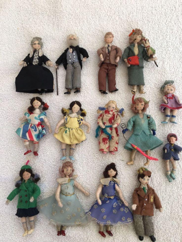 Huge Bundle Job lot 15 Vintage GRECON Dolls Figures Dolls House Little People in…
