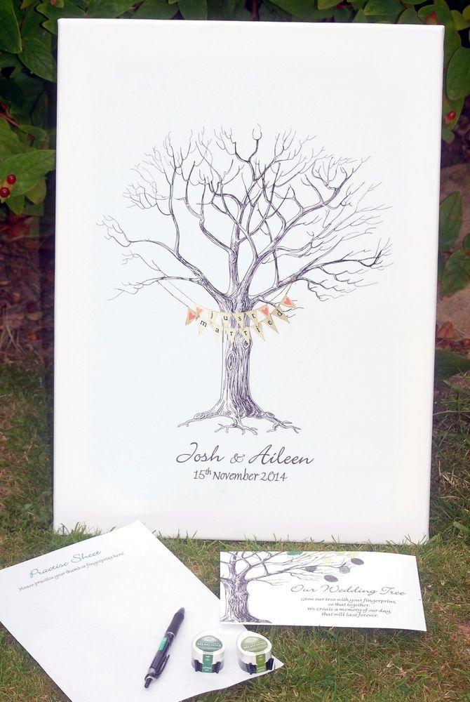 Large Wedding Fingerprint / Thumbprint Tree- Unusual Wedding Gift WITH BUNTING    eBay