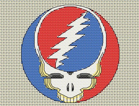 Grateful Dead cross stitch chart, steal your face pattern, 60 x 60 stitches, stealie, skull, lightning bolt, download