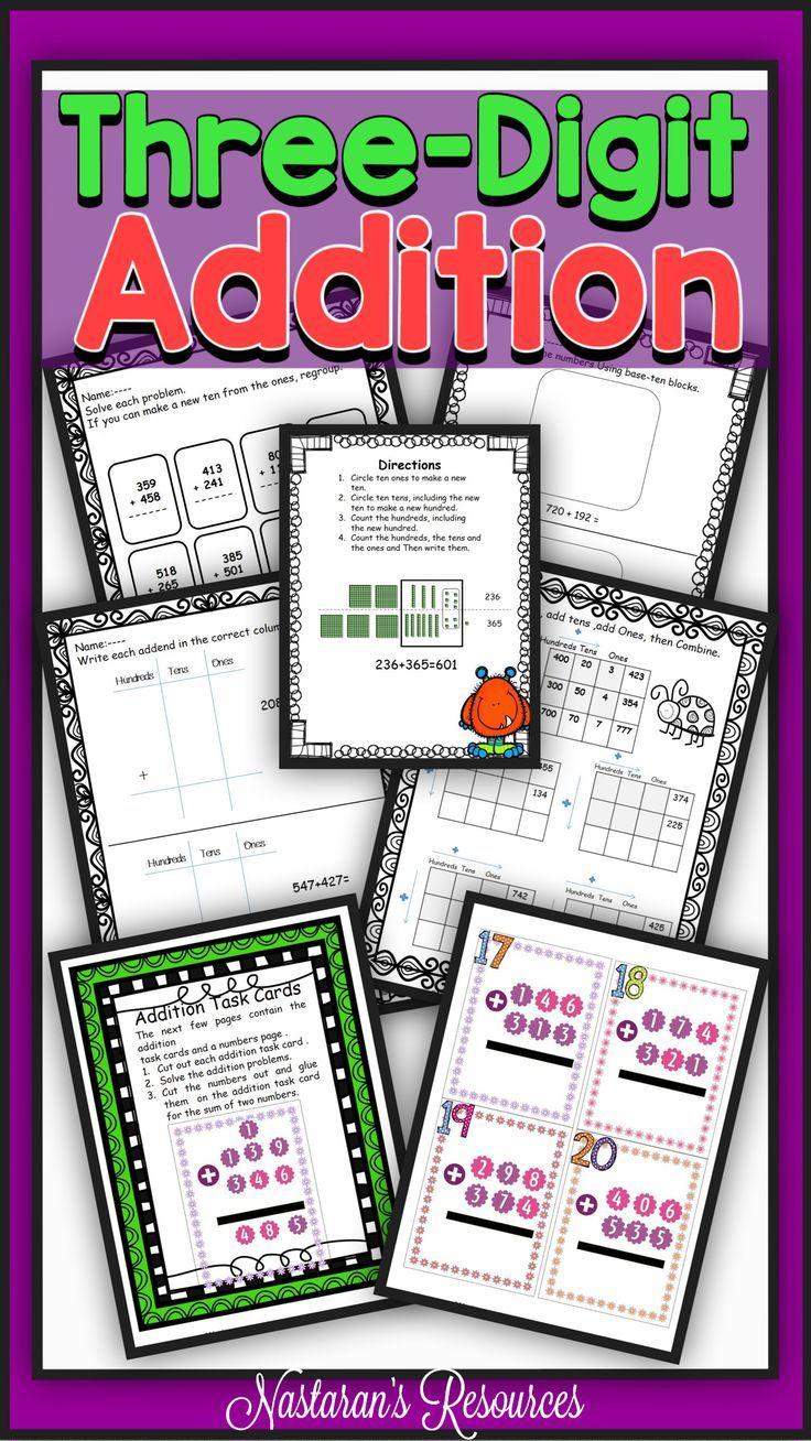 Three Digit Addition Spinner Games Math Resources Math Curriculum Elementary Math