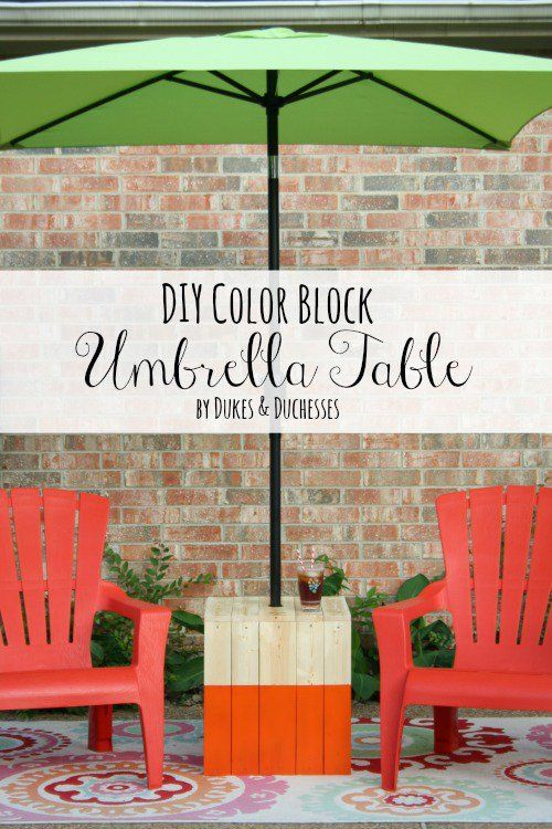 DIY Color Block Umbrella Table - Dukes and Duchesses