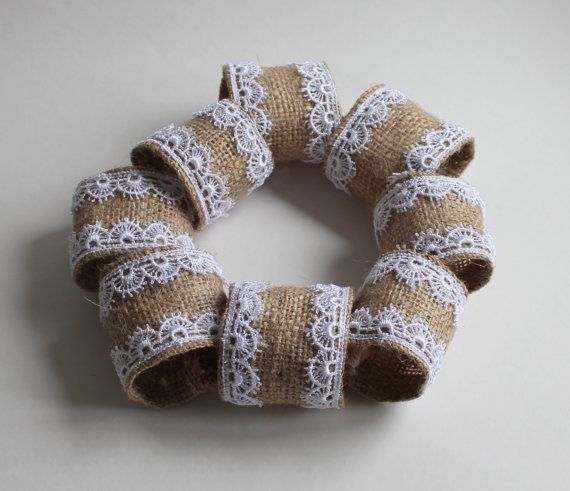 Burlap Napkin Ring with White Lace Edging - Set of 8