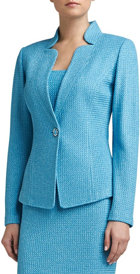 St. John Corded Shimmer Knit Fitted Jacket