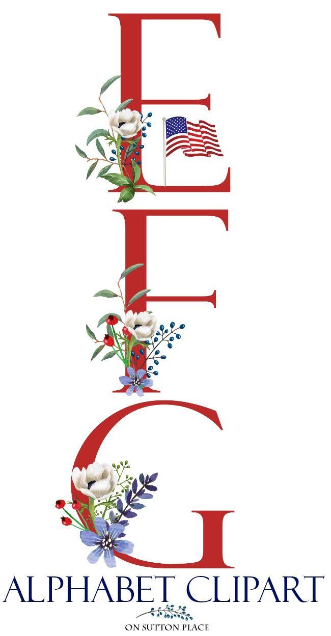 medium resolution of patriotic floral alphabet clipart letters clipart red white blue digital download patriotic di bloggers best diy ideas free printable banner