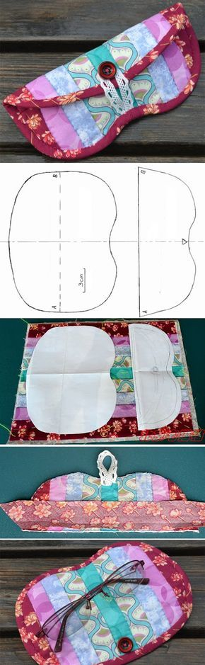 Patchwork glasses case, quilted, handmade, eyeglass case. Step by step photo tutorial.  http://www.handmadiya.com/2016/05/glasses-case-tutorial.html