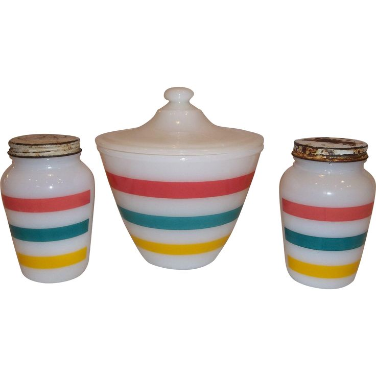 20% Off Sale  Fire King Three Stripe Grease Jar with Lid and Salt & Pepper