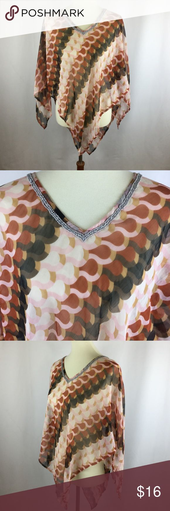 """Women's Poncho Boho Hippie Top Sheer Pink One Size This listing is for a pretty, delicate poncho shirt. It is intended to be layered over another top, such as a tank top. It has silver metallic beading on the v-neckline and a pointed asymmetrical pixie hem. The garment has sleeves, similar to a batwing or dolman style. The tag says one size fits all, but we all know that's not true, so here are the measurements:  Bust: 38""""  Length: At its shortest point, 22"""", and at its longest point, 37""""…"""