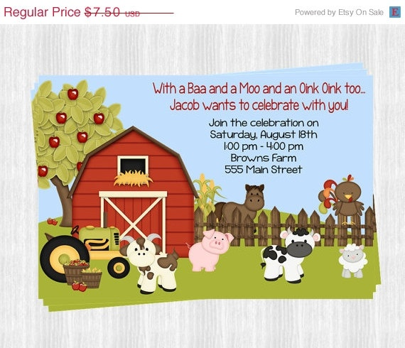 25 OFF SALE ENDS 1/31 Farm Invitations by PartyConfettiDesigns, $5.63