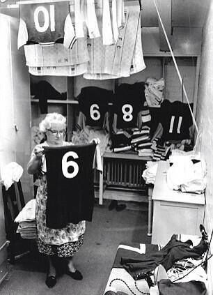West Ham's kit washer Jessie Gregg (right) checks Bobby Moore's iconic shirt in…