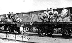 Refugees on flat cars - Russian Civil War