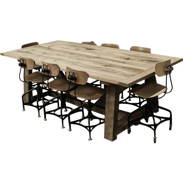 Kith & Kin Ellis Solid Oak Farm Table ($2,695) ❤ liked on Polyvore featuring home, furniture, tables, dining tables, oak kitchen table, lacquer table, oakwood furniture, oak farmhouse table and oak wood furniture