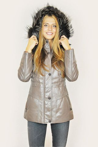 JESSIMARA TAUPE LEATHER RACCOON TRIM PUFFER COAT