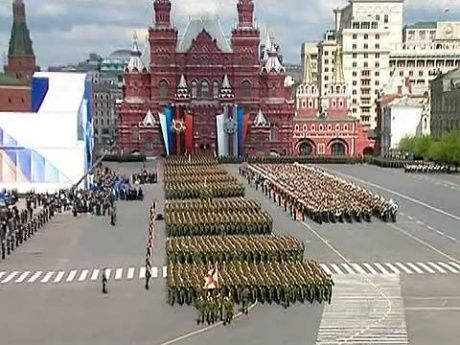 Victory Day . Parade in Red Square in Moscow