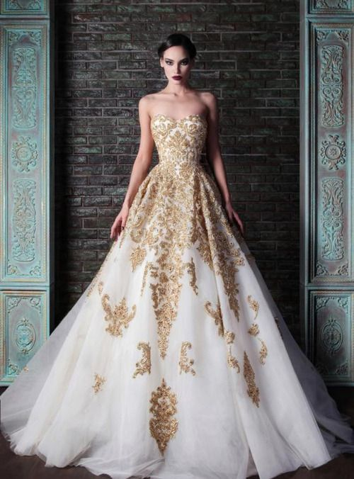 Rami Kadi- Gold Glamorous Wedding Dress