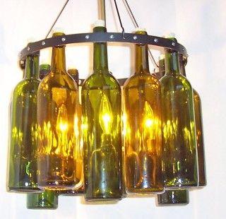 Wine bottle light fixture glass fusing pinterest bottle lights bottle and wine - Wine bottle light fixture chandelier ...