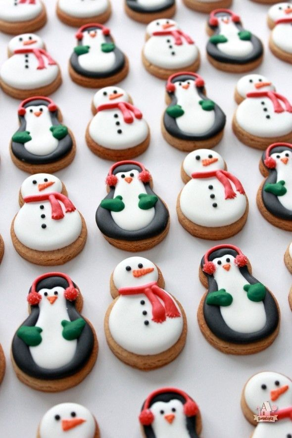 The Perfect Peanut Butter Cut-Out Cookie by /bybakerella/ | Snowman Cookies | Penguin Cookies -- Delicious Christmas Cookie Recipes