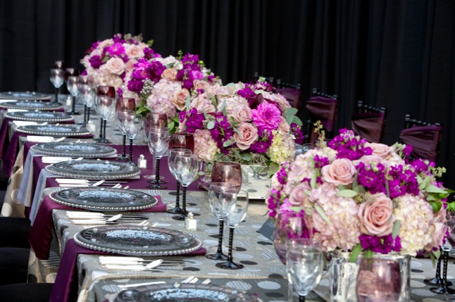 Mix & Match your linens   Event design - Something Fabulous Floral Edge Floral