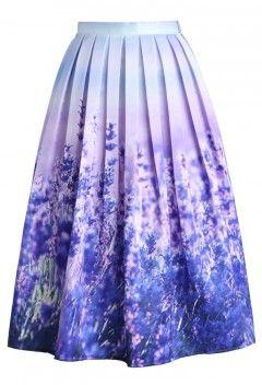 Endless Lavender Romance Pleated Midi Skirt