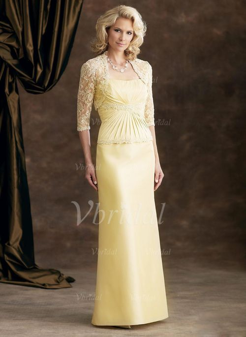 Mother of the Bride Dresses - $106.22 - Sheath/Column Strapless Sweetheart Floor-Length Satin Lace Mother of the Bride Dress With Ruffle (0085055933)